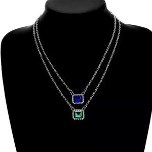Jewelry - Multilayered Silver Gem Choker Necklace